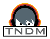 TNDM Logo: character listening to headphones
